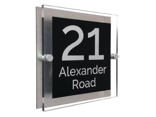 Block Shape - Clear Acrylic House Sign - Black Colour with White text in Font  4